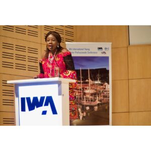 Me at the 8th International Young Water Professionals Conference giving an excerpt from my book